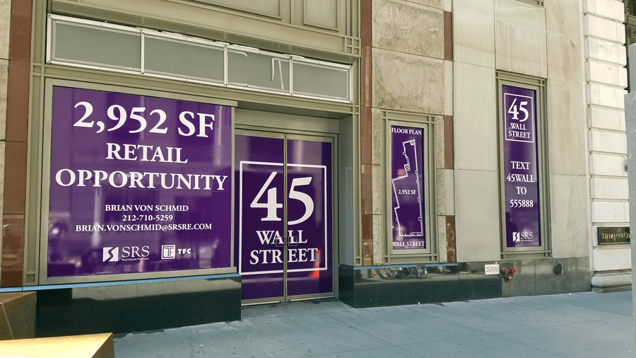 National Flag and Display produces Custom Ink-Jet Adhesive Vinyl Banners, and installation, for 45 Wall Street, New York City.