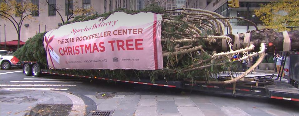 National Flag and Display produces the Custom Outdoor Banner for the 2018 Rockefeller Center Christmas Tree.