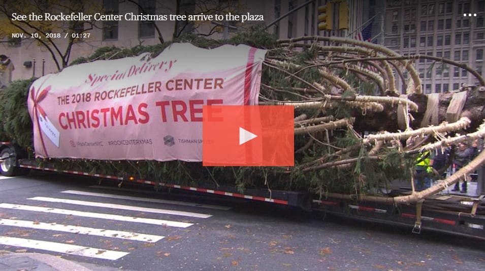 2018 Rockefeller Center Christmas Tree video link