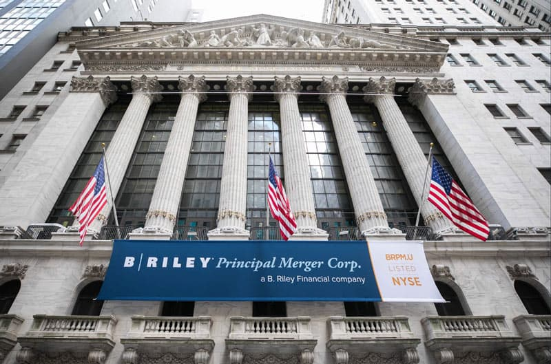 National Flag & Display produces the Custom Banners at the New York Stock Exchange for the Initial Public Offering of B. Riley Principle Merger Corp.