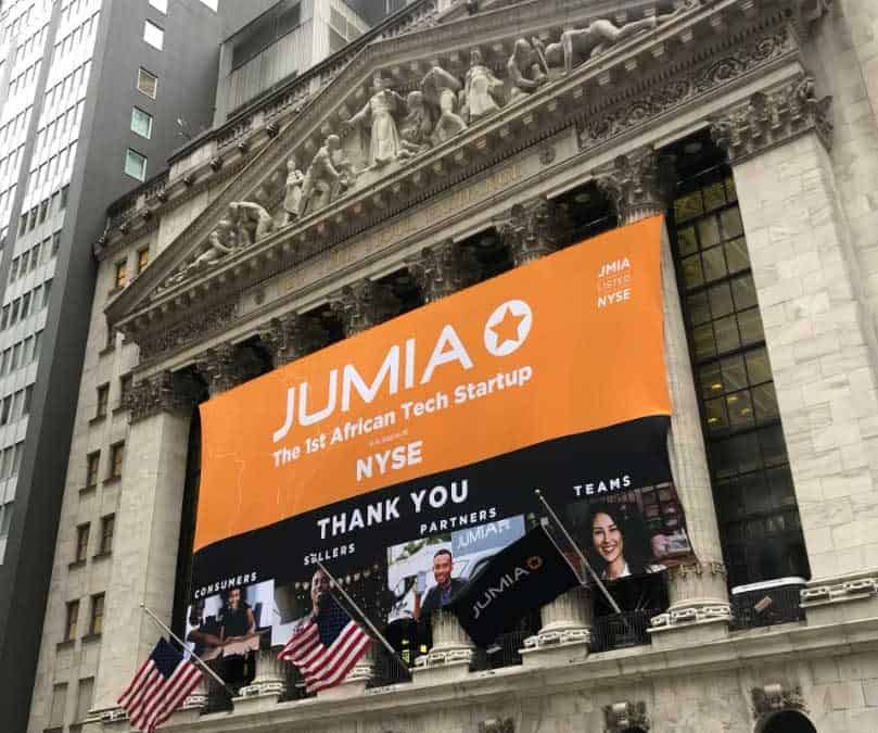 Natonal Flag and Display produces the Custom Banners at the New York Stock Exchange for the Initial Public Offering of Jumia.