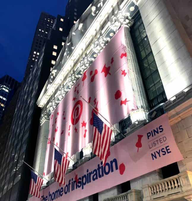 National Flag Display produces Custom Banners at the New York Stock Exchange initial public offering of Pinterest