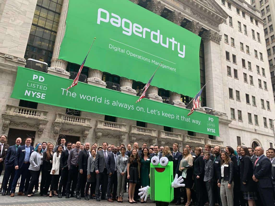 National Flag and Display produces the Custom Banners at the New York Stock Exchange for the Initial Public Offering of PagerDuty.