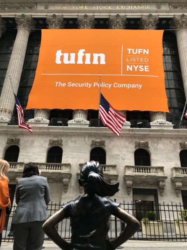 National Flag and Display produces the Custom Banners at the New York Stock Exchange for the Initial Public Offering of Tufin.