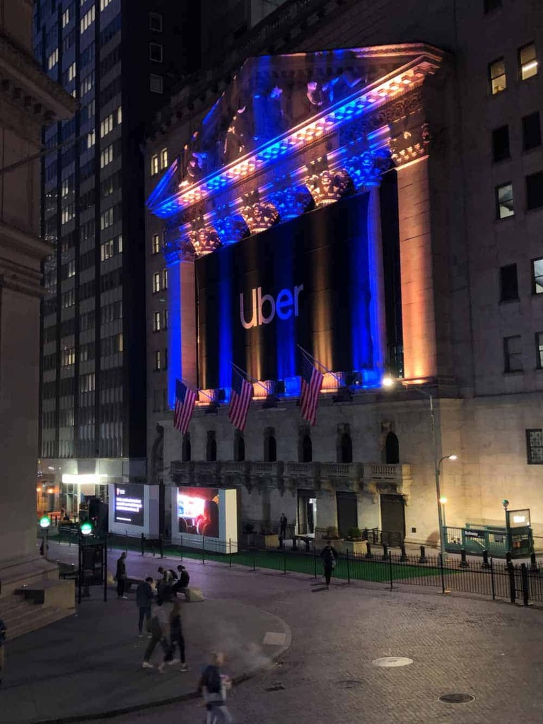 National Flag and Display produces the Custom Banners at the New York Stock Exchange for the Initial Public Offering of Uber.