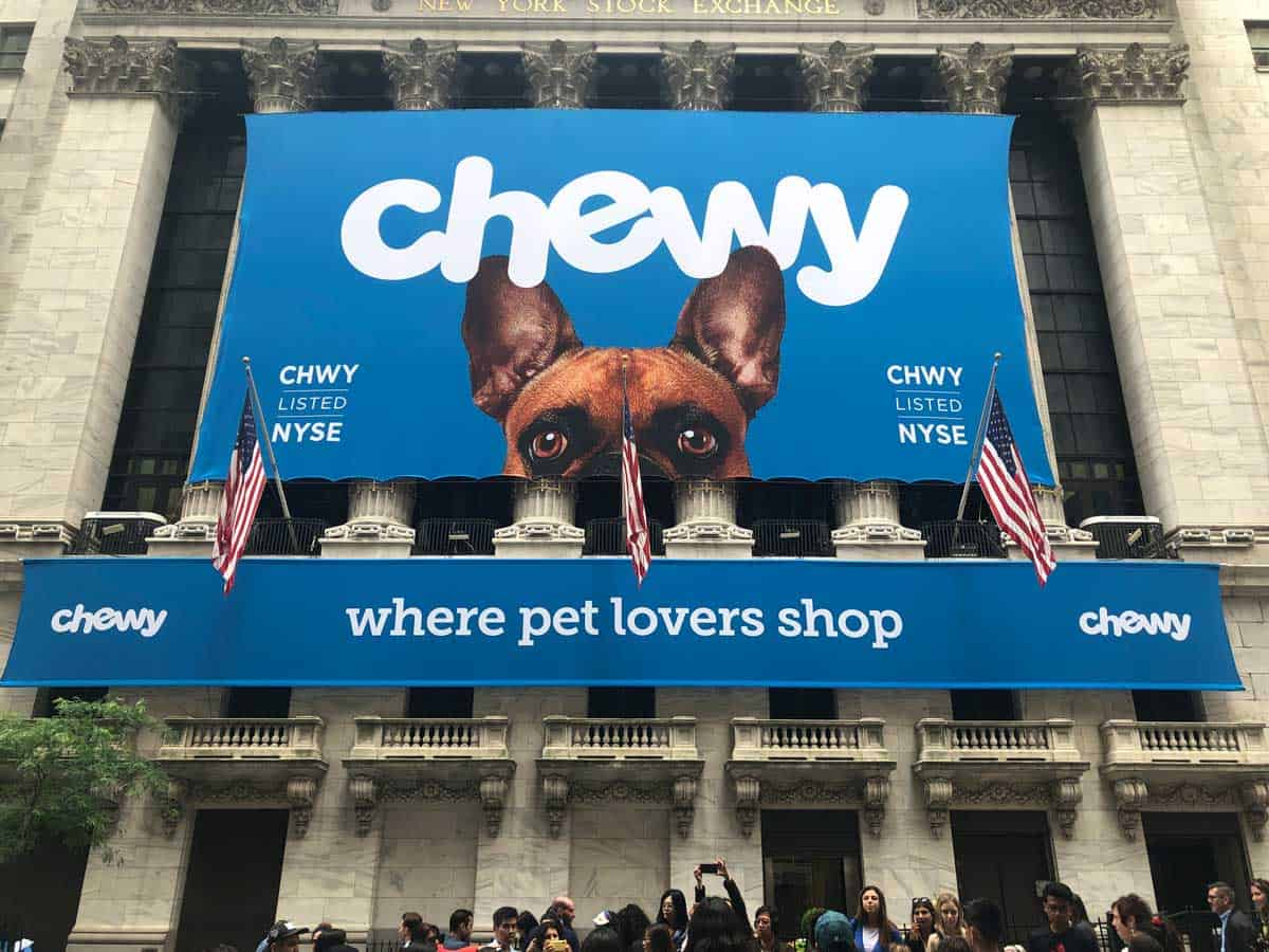 National Flag and Display produces the Custom Banners at the New York Stock Exchange for the initial public offering of Chewy.