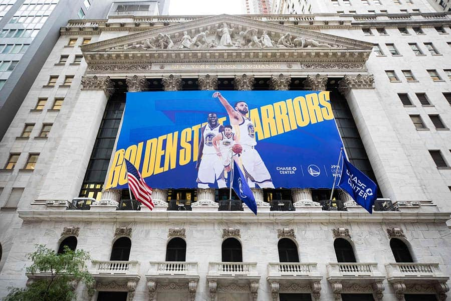 National Flag & Display Custom Banners for NYSE – Golden State Warriors & Chase