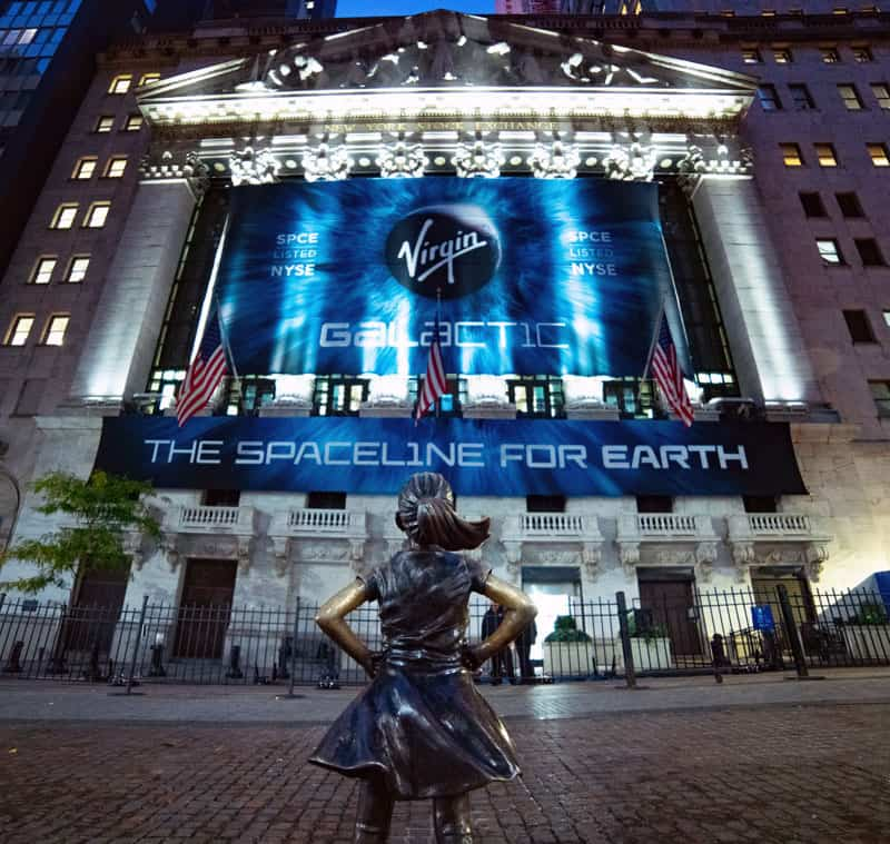 National Flag and Display produces the Custom Banners at the New York Stock Exchange for the Initial public offering of Virgin Galactic, a passenger space flight company on 10-28-19.