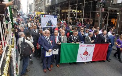 Custom Parade Banner produced by National Flag & Display for Columbus Day Parade NYC