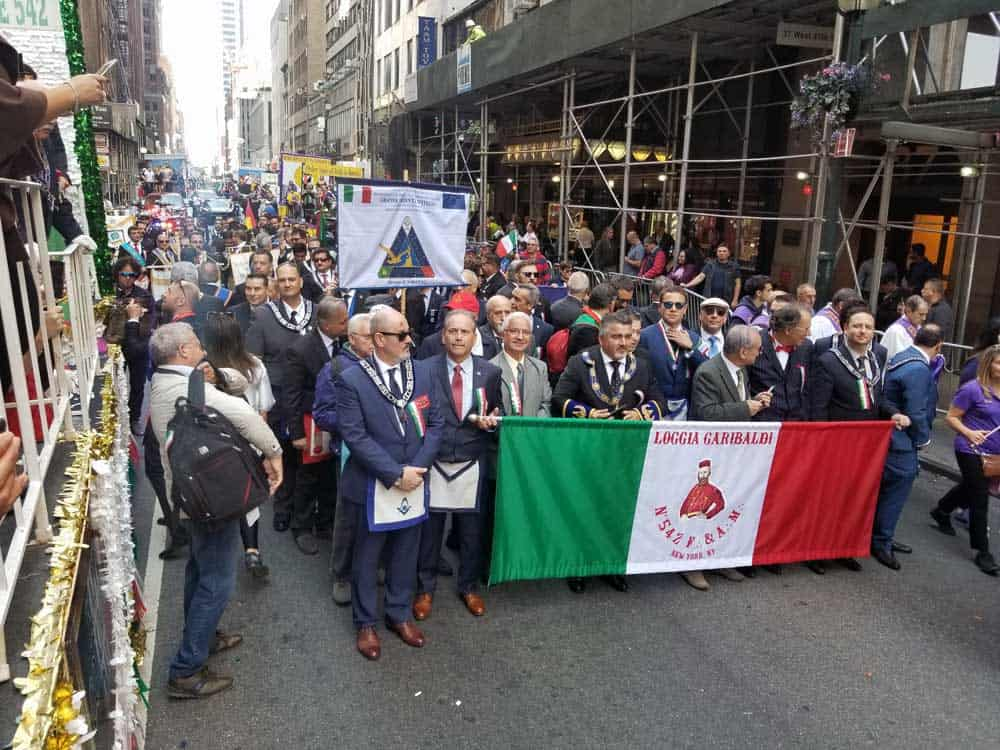 National Flag and Display produces a Custom Parade Banner at the Columbus Day parade NYC, 10-14-19