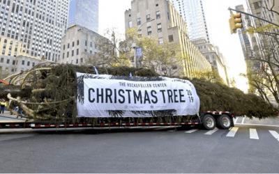 2019 Rockefeller Center Christmas Tree Custom Banner produced by National Flag & Display
