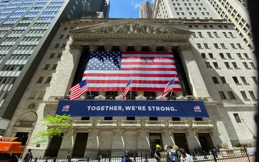 "National Flag and Display produces the American Flag and the ""Together We're Strong"" Custom Banner at the New York Stock Exchange"
