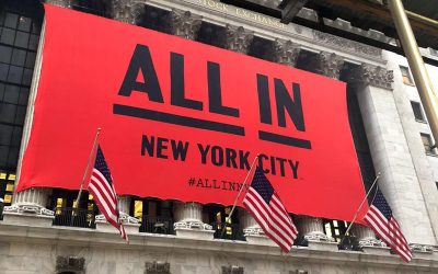 """National Flag & Display produces the Custom Banner at the New York Stock Exchange for the. """"ALL IN New York City"""" campaign"""