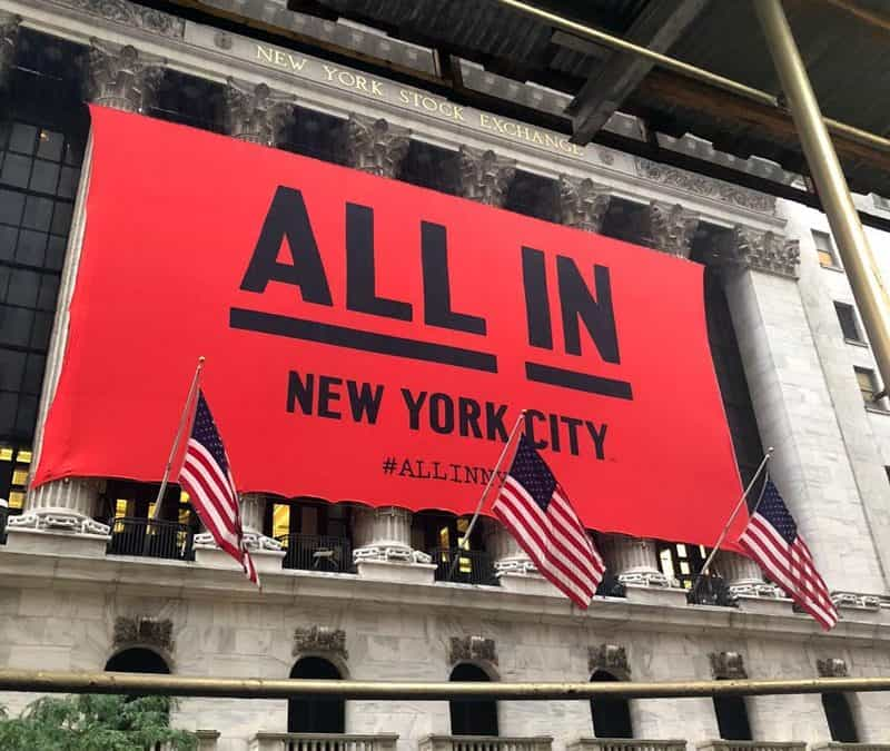 "National Flag & Display produces the Custom Banner at the New York Stock Exchange for the. ""ALL IN New York City"" campaign"
