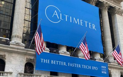 National Flag and Display produces the Custom Banners at the New York Stock Exchange for the Initial Public Offering of Altimeter.