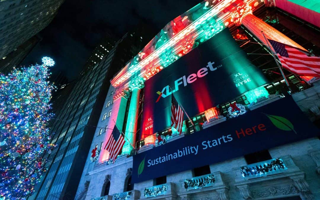 National Flag and Display produces the Custom Banners at the New York Stock Exchange for the Initial Public Offering of XL FLEET.
