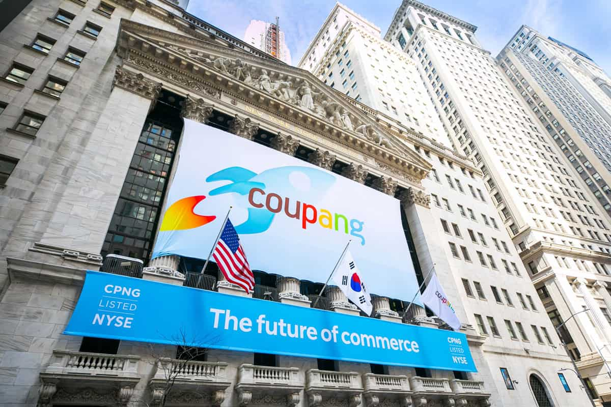 National Flag and Display produces the Custom Banners at the New York Stock Exchange for the Initial Public Offering of Coupang Company.