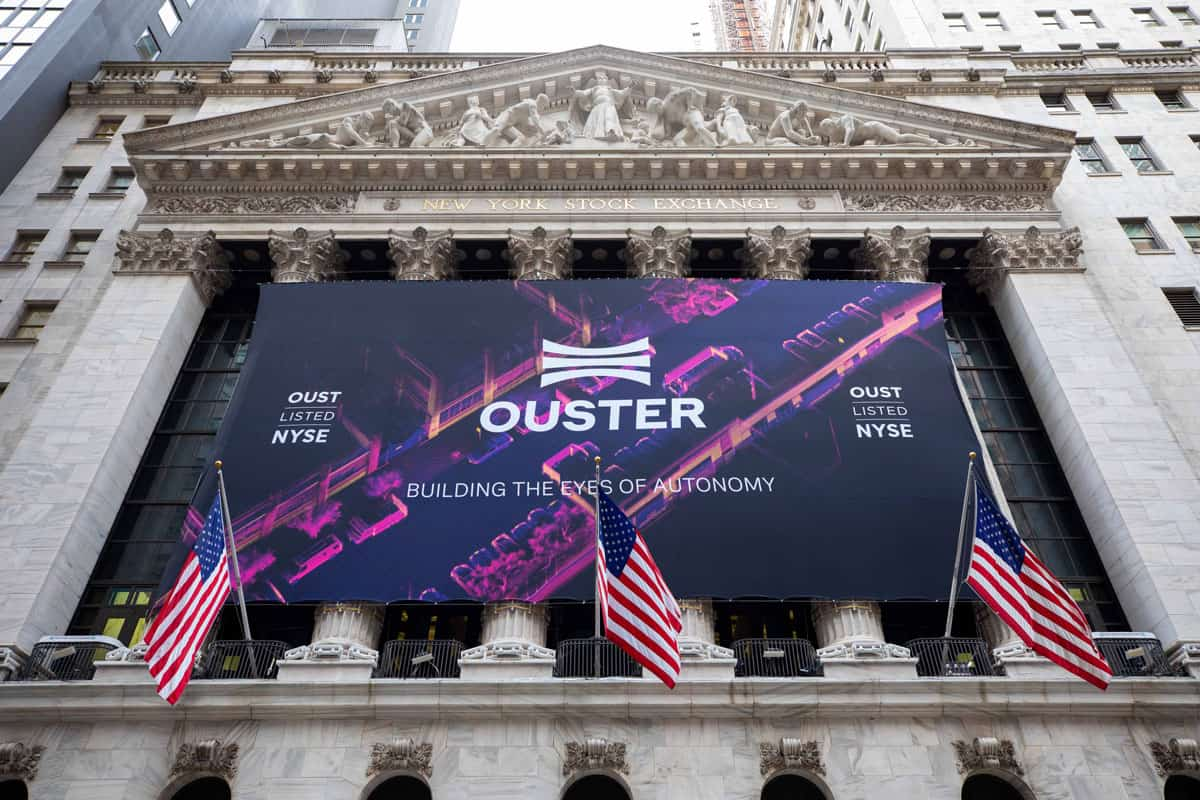 National Flag and Display produces the Custom Banners at the New York Stock Exchange for the Initial Public Offering of Ouster Company.