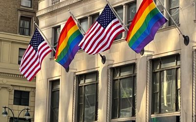 Pride Flags & American Flags at 11 Penn Plaza celebrating Pride in New York City