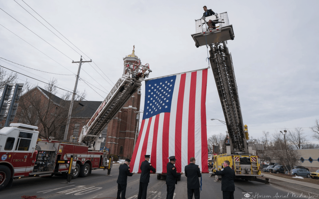 Proper Display of a Flag from an Aerial Device