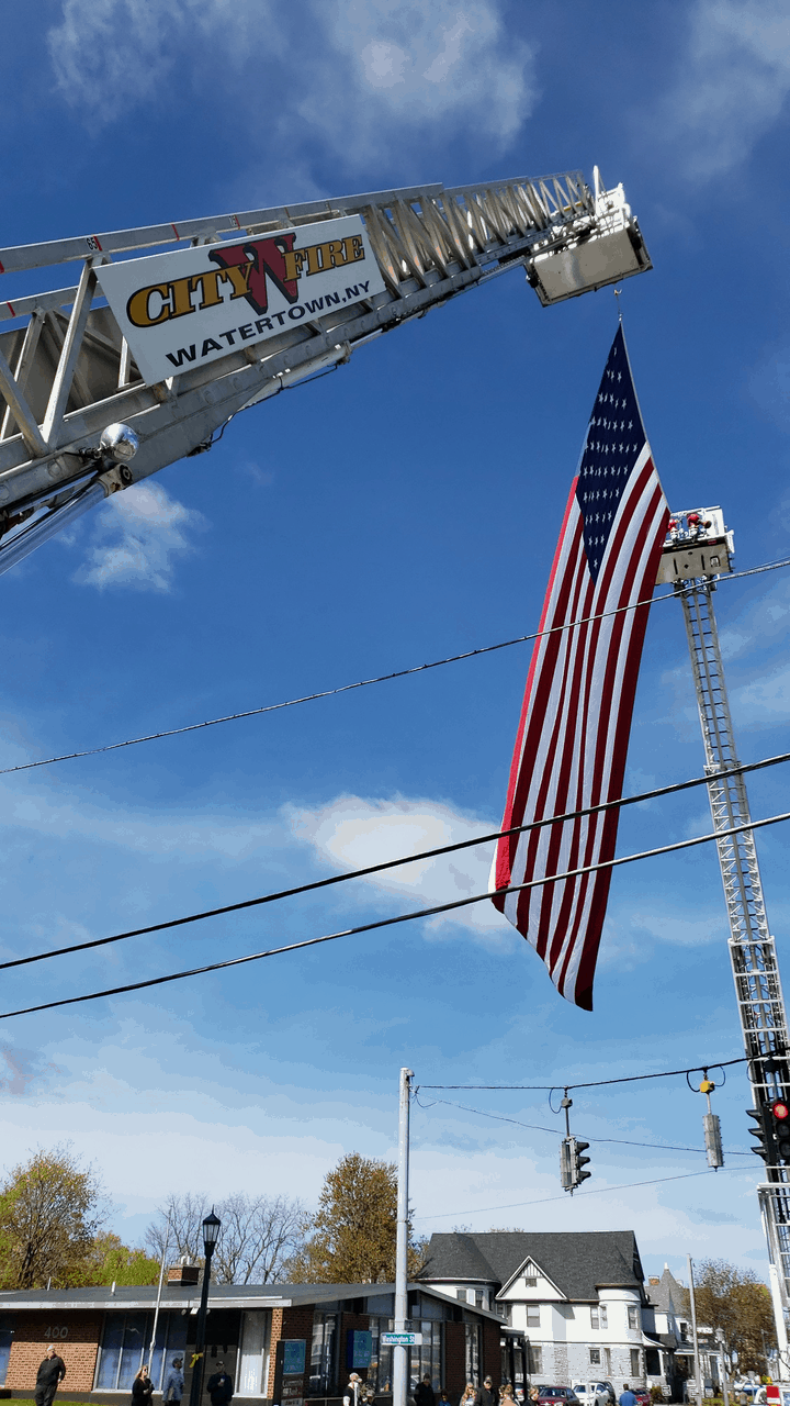 Display of a Flag from an Aerial Device