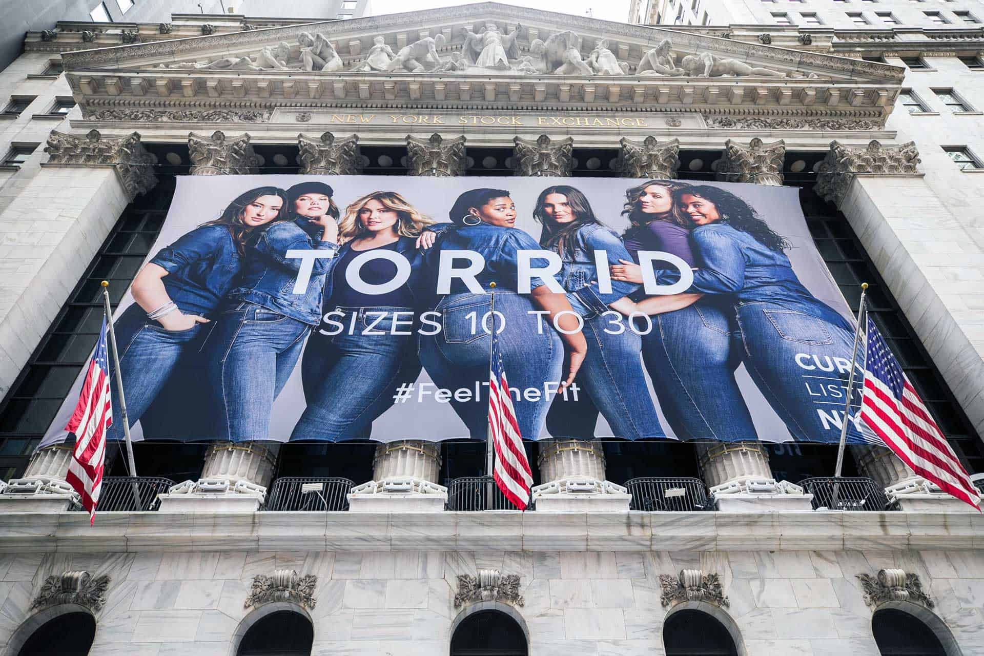 National Flag and Display produces the Custom Banners at The New York Stock Exchange, for the Initial Public Offering of the Torrid Company.