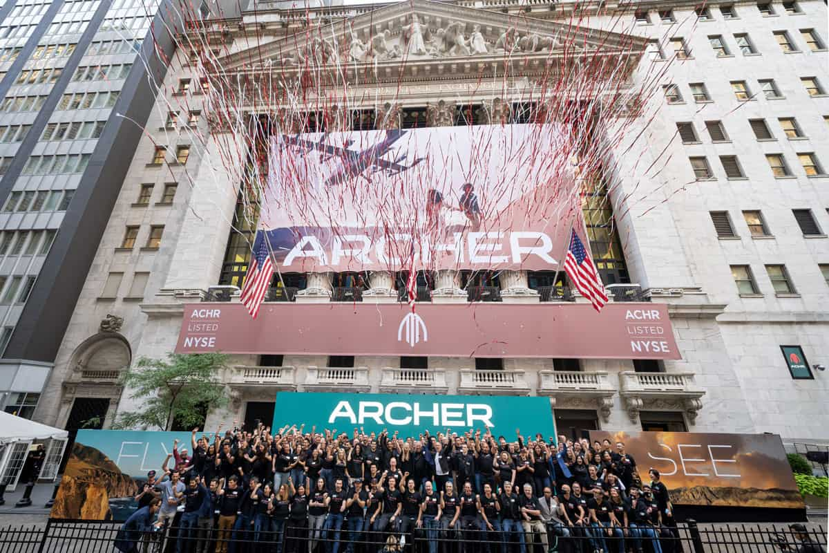 National Flag and Display produces the Custom Banners at The New York Stock Exchange for the Initial Public Offering of the Archer Aviation Company.