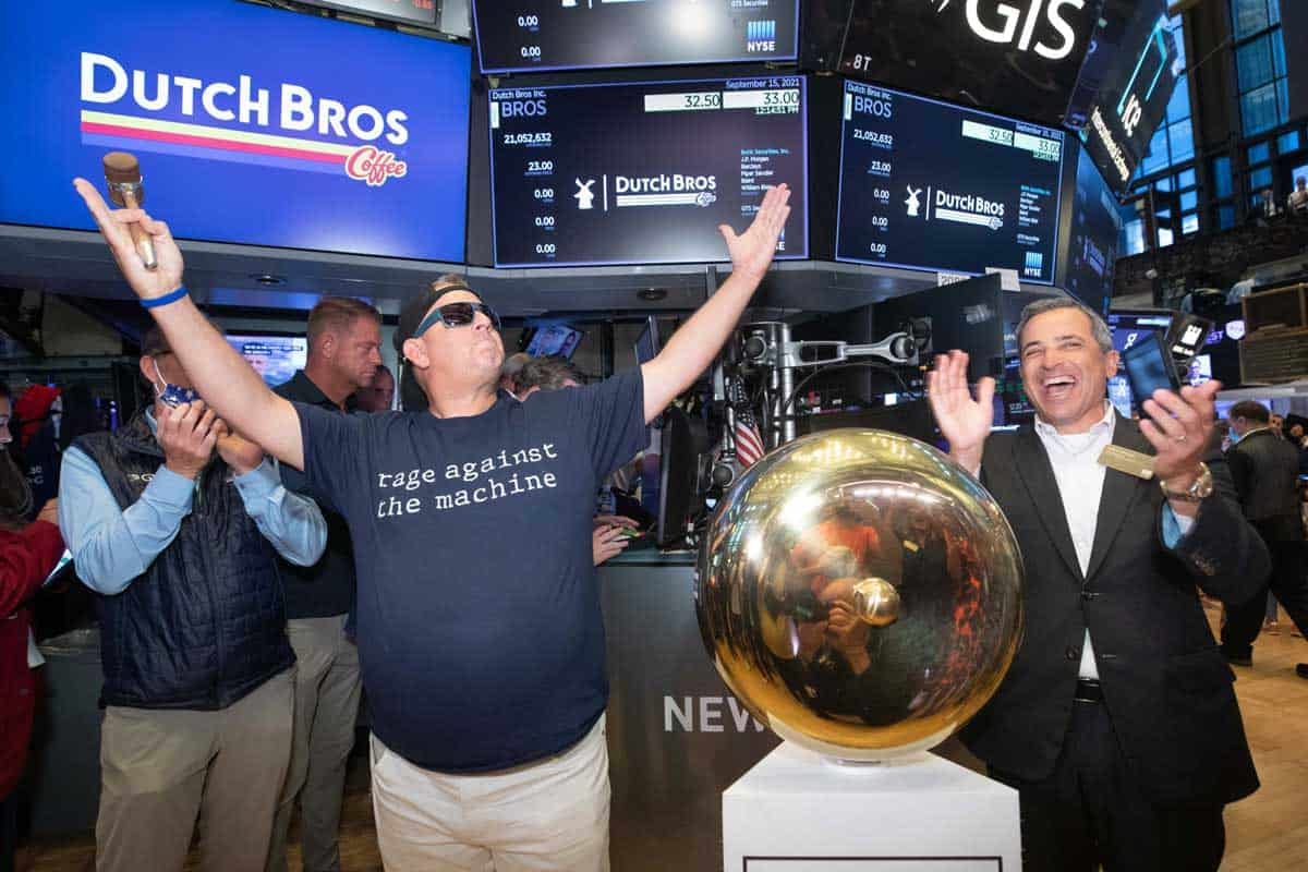 National Flag and Display produces the Custom Banners at The New York Stock Exchange for the Initial Public Offering of the Dutch Bros Coffee Co.
